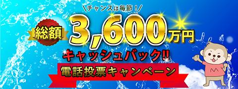 総額3,600万円キャッシュバック!!電話投票キャンペーン